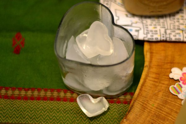 Heart Ice cubes in a heart bowl