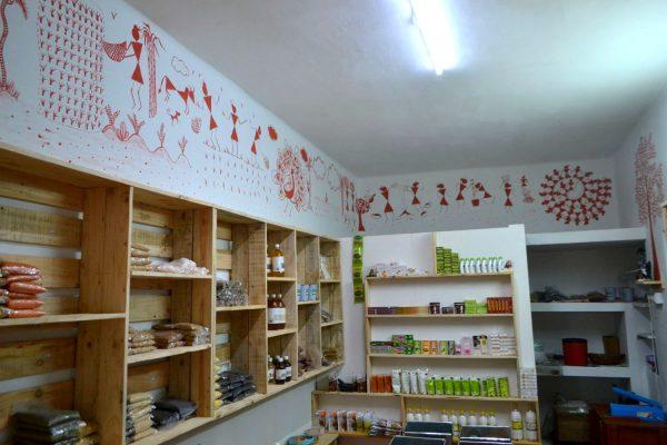 The Lifecycle of a Grain Warli art at the organic store in Koramangala - Swaasthya Organics