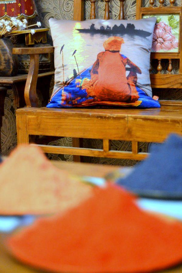 A banaras scene printed cushion
