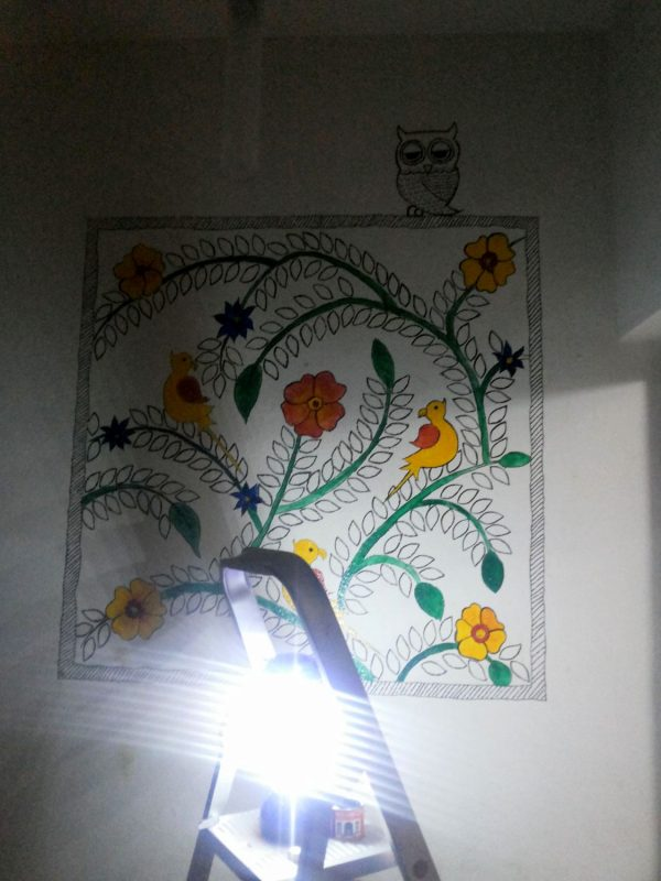 DIY Madhubani Inspired wall mural