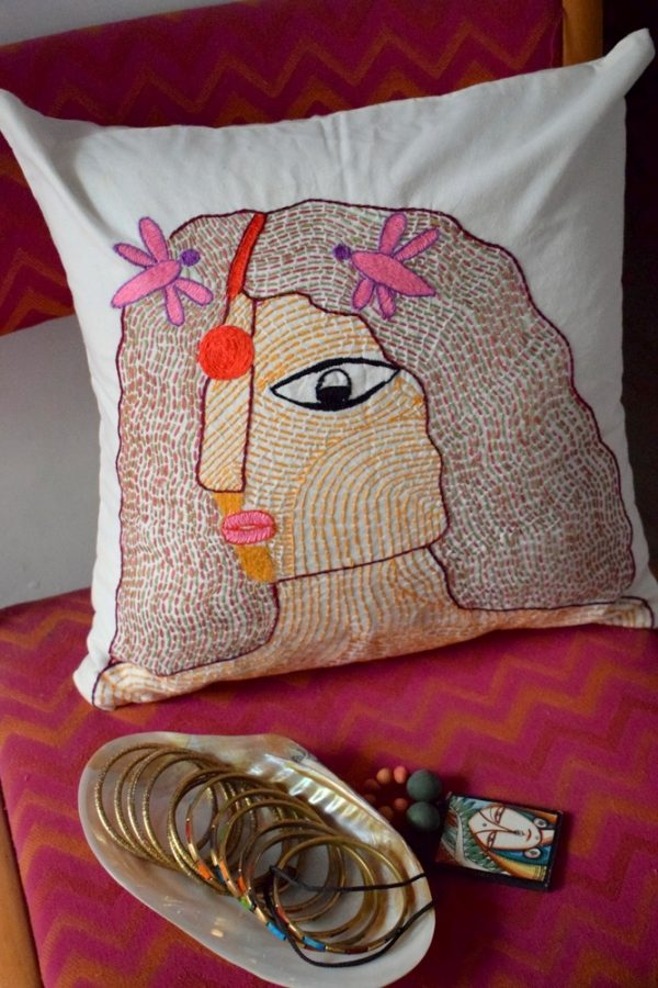 I am giving away this beautiful art cushion cover by Aham Bhumika on my Instagram