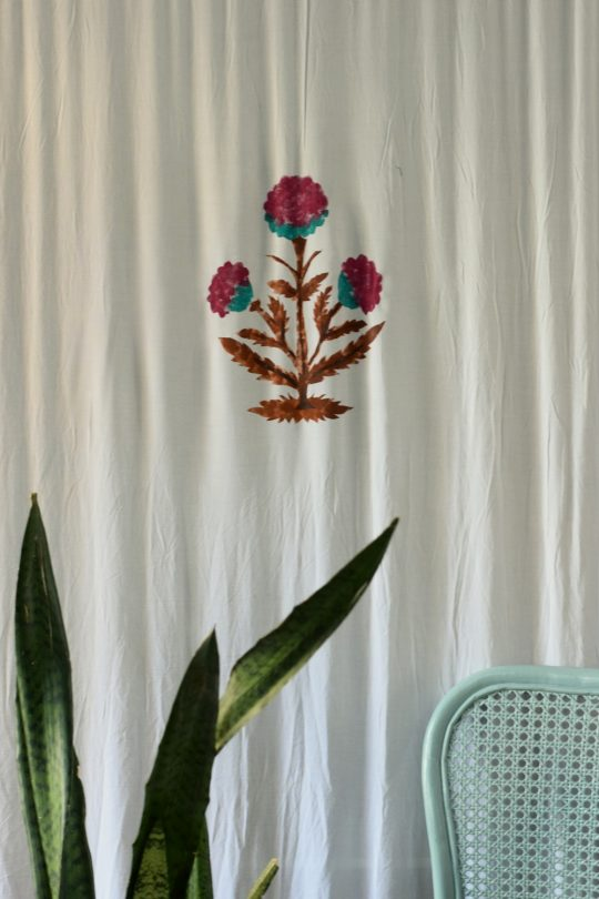 The print on the curtain