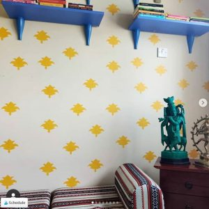 DIY block print wall