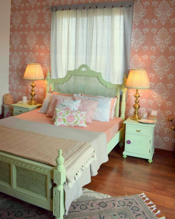 A pastel pink and green master bedroom, At home with Preethi Prabhu
