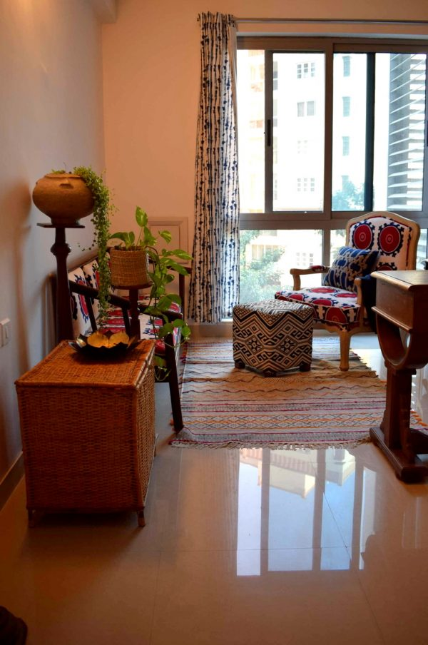The office room seating is a roit of colors. At home with Preethi Prabhu.