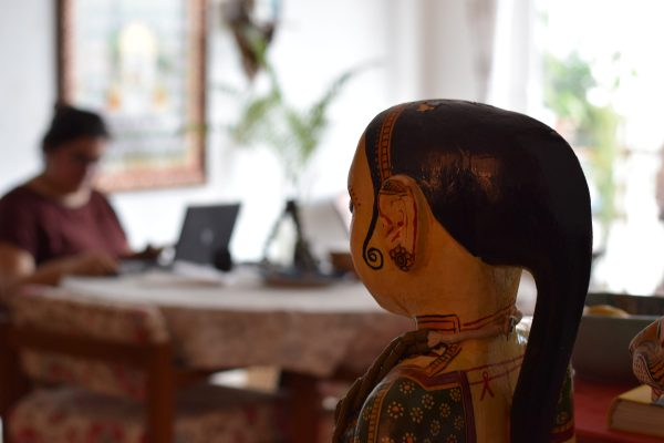 Preethi Prabhu, working from her dining table.