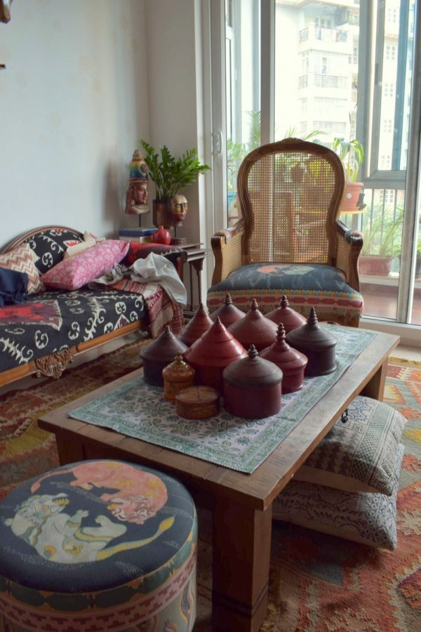 A collection of antique sindoor boxes on the coffee table. At home with Preethi Prabhu.