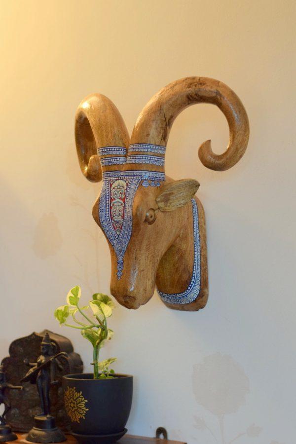 Indian designer home decor Item, a Pattachitra Ram head.